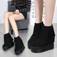 Boots 34 35 36 37 38 39 black Suede Other / other Super high heel (over 8cm) Muffin bottom Suede Middle cylinder Round head Superfine fiber Artificial short plush Winter 2017 Side zipper Korean version polyurethane Solid color Tassel boots Adhesive shoes Artificial short plush Youth (18-40 years old)
