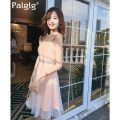 Dress Summer of 2018 Orange SML Middle skirt sweet Single sleeveless A collar Pure color High waist zipper A-line skirt other Sling Type A 18-24 years old 82PD1056 Palglg Pleated Sequin gauze other Polyester 100% Pure electricity supplier (only online sales) princess