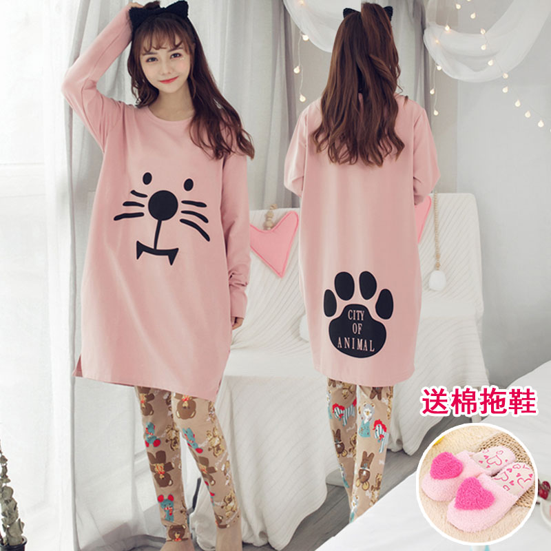 Pajamas / housewear set female Other / other M (free cotton slippers) l (free cotton slippers) XL (free cotton slippers) XXL (free cotton slippers) 5544 5533 5605 l5501 6619 6692 white 6692 dark gray l5502 l5503 6669 pink 6669 blue 6655 l5508 l5509 cotton Long sleeves Sweet pajamas autumn routine