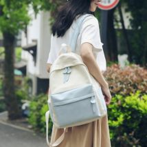 Backpack canvas Other / other White with blue white with pink white with gray white with yellow brand new in zipper campus Double root Street trend soft juvenile yes Soft handle Solid color Yes female No waterproof Vertical square Mobile phone bag, certificate bag, computer bag polyester fiber no