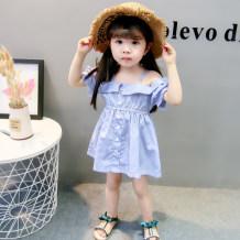 Dress sky blue Guaiguaiifkeeper female 80cm 90cm 100cm 110cm 120cm Cotton 100% summer Korean version cotton