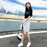 Dress Summer of 2018 black XS S M L XL Long skirt Commuting Single Short sleeve Round neck Pure color High waist Sleeve Irregular skirt conventional Other /other Korean version Type A Black letters T fake two dresses Asymmetrical bandage for patch folding other 81% (inclusive) -90% (inclusive) other