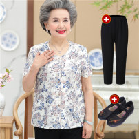 Middle aged and old women's wear Summer of 2018 XL [recommended 95-110 kg] 2XL [recommended 110-120 kg] 3XL [recommended 120-135 kg] 4XL [recommended 135-145 kg] 5XL [recommended 145-155 kg] Blue suit red suit blue suit + shoes red suit + shoes ethnic style T-shirt easy singleton  other Cardigan