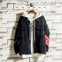 Jacket Soinku / tidal type reservoir Youth fashion black S M L XL 2XL routine easy Other leisure autumn Cotton 98% polyurethane elastic fiber (spandex) 2% Long sleeves Wear out Lapel tide teenagers routine Single breasted 2018 Cloth hem washing Closing sleeve Geometric pattern Denim rivet cotton