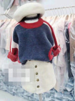 Sweater / sweater 90cm suggested height 100cm suggested height 110cm suggested height 120cm suggested height 130cm suggested height other female blue Other / other Korean version No model Socket routine Crew neck nothing Ordinary wool other AS7425