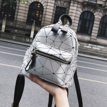 Backpack PU Flying in the sky White Silver Black brand new Small zipper leisure time Double root Japan and South Korea soft youth no Soft handle Geometric pattern nothing female No waterproof Vertical square Certificate bag polyester fiber Sewing no A-11 synthetic leather