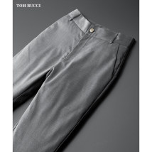 Down pants TOM BUCCI Black, gray 30,31,32,33,34,36,38,40 Fashion City trousers Wear out White Velvet leisure time youth Business Casual Straight cylinder Solid color Multiple pockets