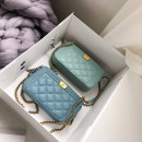 Bag The single shoulder bag PU diamond pattern chain bag losea studio Dark blue light blue pink white brand new European and American fashion Small leisure time hard Magnetic buckle no Solid color Single root One shoulder cross Yes youth Horizontal square Rhombic grid Chain handle synthetic leather