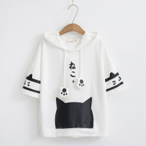 Sweater / sweater Spring of 2018 M L Short sleeve Socket routine singleton  routine Hood Straight cylinder Sweet routine 18-24 years old cotton Cotton liner