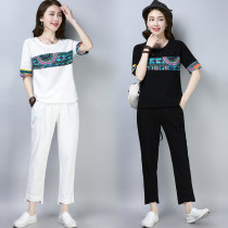 Casual suit Summer of 2018 White black M recommendation is less than 115 kg, l recommendation is 115-125 kg, XL recommendation is 125-135 kg, XXL recommendation is 135-155 kg Summer new loose literature and art cotton hemp suit for women 31% (inclusive) - 50% (inclusive) cotton