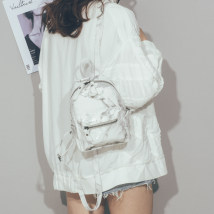 Backpack PU Qingcheng White black brand new Small zipper leisure time Double root Japan and South Korea hard youth no Hard handle Marbling nothing female Water splashing prevention Vertical square Zipper pocket, mobile phone bag, certificate bag polyester cotton Color contrast yes 8 inches