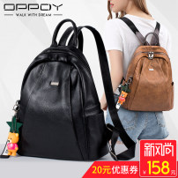 Backpack cowhide Oppdy / oppdy brand new in zipper leisure time Double root Japan and South Korea soft youth no Soft handle Solid color Yes female no