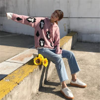 sweater Autumn of 2018 XXS [pre sale] one size fits all Pink Long sleeves Socket singleton  Regular acrylic fibres 95% and above Hood thickening commute routine Straight cylinder 18-24 years old Other / other