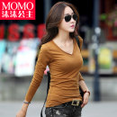 T-shirt White blue Khaki black grey SMLXLXXL Fall 2017 Long sleeves V-neck Self cultivation Regular routine commute 18-24 years old Korean version youth Solid color Princess momo MM8808 3D stitching stereo decoration Cotton 95% polyurethane elastic fiber (spandex) 5% Pure e-commerce (online only)