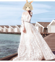 Wedding dress Spring of 2018 White floor style, white trailing style SMLXLXXL Korean version Long tail Bandage church One shoulder Lace Three dimensional cutting HS004 middle-waisted 18-25 years old Embroidery Zhuo Xianya Large size Pure e-commerce (online only) Polyester 100%