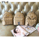 Backpack PVC YY-E brand new in zipper leisure time Double root Japan and South Korea hard youth no Soft handle Geometric pattern nothing female rivet