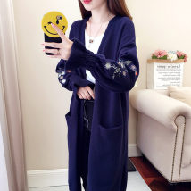 Wool knitwear SMLXLXXL Fall of 2018 Navy apricot Pink Long sleeve Cardigan Long section Single thick Commuting Loose Horn sleeve V collar XMJ-BKKS1