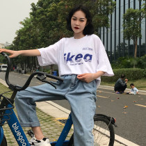 T-shirt 9908 white 9908 yellow 9908 blue 9909 brick red 9909 black white yellow blue MLXLXXL Short sleeve Summer of 2018 Round neck Conventional models Loose conventional Commuting 18-24 years old youth letter and number Korean version Tanning wz6608 printing 100% cotton