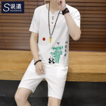 T-shirt Youth fashion [zhubao Ping'an shorts suit] apricot routine 3XL say SD171735TX Cotton 100% Cotton wool Summer of 2018 Pure e-commerce (online only)