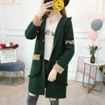 Wool knitwear MLXLXXLXXXL Fall of 2018 Gray red black green Long sleeve Cardigan Long section Single thick Commuting Loose conventional letter Hooded