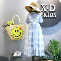suit Other / other Pink Blue female summer Korean version Short sleeve + skirt 2 pieces Thin money No model Socket nothing Solid color blending TZD615