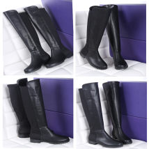 Boots 34 35 36 37 38 39 black Superfine fiber Ou Dun Ge Di Xin Low heel (1-3cm) Flat bottom top layer leather Over the knee Round head Artificial short plush Artificial short plush Fall 2017 Sleeve Europe and America rubber Solid color Knights' boots Adhesive shoes Artificial short plush Shaving