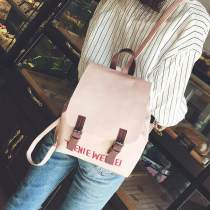 Backpack PU Other / other Pink gray blue black brand new in Cover type leisure time Double root Sweet Lady  soft youth no Soft handle Solid color no