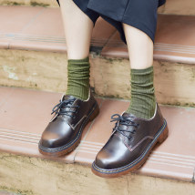 Low top shoes Shallow mouth Red, yellow and black Maichi Road 3435363738394041424344 Round head Cow two layer coating Middle heel (3-5cm) flat Two-layer pigskin Fall of 2018 Oxford shoes Tie Pure color Japanese TPR (Cattle tendons) Sewing shoes Youth (18-40 years old) Two-layer pigskin Casual 01