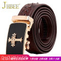 Belt / belt / chain Crocodile leather brown JHBEE belt male Commerce Automatic buckle alloy twenty-two thousand five hundred and eighty-one youth Glossy 105cm110cm115cm120cm125cm130cm Spring and summer of 2018