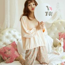 Pajamas / housewear set female Other / other Collect baby to send freight insurance, add shopping cart to send small gift ml XL XXL Two piece floral set other Long sleeves Sweet autumn routine Crew neck Solid color trousers Socket 2 pieces rubber string More than 95% 200g and below