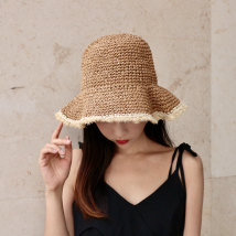 Hat Straw weaving Beige Khaki Adjustable Straw hat Spring and summer female leisure time Middle aged youth dome Big eaves 15-19, 20-24, 25-29, 30-34 no