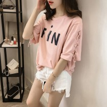 T-shirt Pink black white MLXL2XL Summer of 2018 Short sleeve Crew neck easy Regular routine commute 18-24 years old Korean version Charming catkins