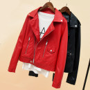 leather clothing Spring 2018 Red Black SMLXL Enzuola / nzola Short paragraph Self-cultivation Long sleeve zipper sweet Standing collar conventional Washed leather one thousand and ninety-six zipper PU Pure electricity supplier (only online sales)