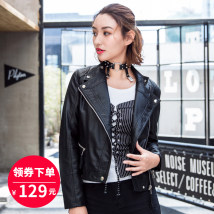 leather clothing Yan Lan Autumn of 2018 SMLXL Pink Black routine Long sleeves Straight cylinder street stand collar zipper routine YL18P118 zipper PU