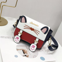 Bag The single shoulder bag PU Small square bag Snow rabbit Elegant black noble blue brand new Japan and South Korea Small leisure time soft Cover type no Solid color Single root One shoulder cross nothing youth Horizontal square Color contrast Soft handle polyester fiber Zipper pocket ID bag xzh26