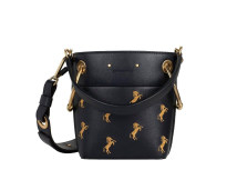 Bag Inclined shoulder bag cowhide Small square bag Other / other Black embroidery (calf) brand new Sweet Lady  leisure time hard no Animal design Yes