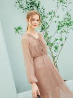 Dress Summer of 2018 Lotus root Pink XS S M L XL Mid length dress singleton  Long sleeves street V-neck Loose waist Solid color Socket A-line skirt