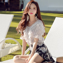 Lace / Chiffon Summer of 2018 Beige SMLXL elbow sleeve singleton  Self cultivation Regular V-neck Solid color 25-29 years old Big pink doll D18BCF006