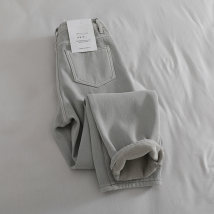 Jeans Winter 2020 grey S,M,L,XL Ninth pants High waist Haren pants thickening washing