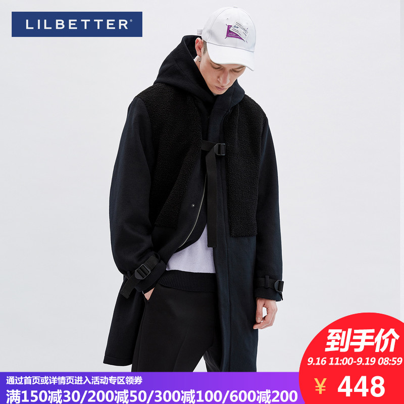 woolen coat black 175/L Youth fashion Lilbetter T-9184-012501 Polyester 70% wool 30% Woolen cloth Winter of 2018 Pure e-commerce (online only)