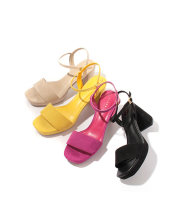 Sandals 35 36 thin feet / s 36 fat feet 37 / M 38 / L 39 / ll Pink Yellow Black off white Other / other Suede Barefoot Thick heel High heel (5-8cm) Summer of 2018 Flat buckle solar system Solid color Adhesive shoes Youth (18-40 years old) rubber daily Front and rear trip strap Hollow PU PU Shaving