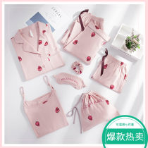 Pajamas / housewear set female A good companion S (comfortable at home, princess can wear it out) m (skin friendly pure cotton sweet girl heart) l (full of youthful vitality and cute flavor) XL (sweet, fresh, age reducing leisure) XXL (loose, large and bright suspender shorts) cotton Long sleeves
