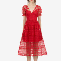 Dress Autumn of 2018 gules XS S M L longuette singleton  Short sleeve street V-neck High waist Solid color zipper other puff sleeve Others Type X Not in a hurry Open back embroidered hook stitched button zipper lace Lace Europe and America