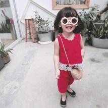 suit LSHUYU BABY gules 80cm 90cm 100cm 110cm 120cm female summer Korean version Sleeveless + pants 2 pieces Thin money Socket nothing Solid color