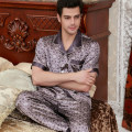 Pajamas / housewear set male Expensive embroidery L (120-135 kg) XL (136-150 kg) 2XL (151-165 kg) 3XL (166-180 kg) Purple grey purple letter Brown Iced silk Short sleeve luxurious pajamas summer Thin money Small lapel Geometric pattern trousers Front buckle middle age 2 pieces rubber string silk