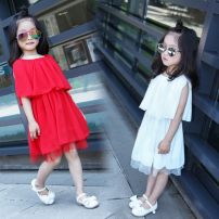 Dress White red Other / other female 95cm tag 7 105cm tag 9 115cm tag 11 125cm tag 13 135cm tag 15 Other 100% summer lady Skirt / vest Solid color Chiffon A-line skirt three thousand six hundred and ninety-seven