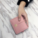 wallet Short Wallet PU AOEO Grey light blue black pink brand new Europe and America female Buckles Solid color 80% off Horizontal style youth Other large banknote holder photo slot hidden change slot zipper slot ID card check slot Clemence  synthetic leather 808# soft surface
