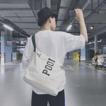 Men's bag Inclined shoulder bag canvas Other / other Black Beige brand new leisure time leisure time zipper soft in yes Mobile phone bag, certificate bag, camera bag written words Yes Single root youth Trapezoid canvas postman Telescopic handle Inner patch pocket 13 inches