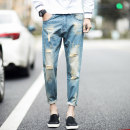 Jeans Youth fashion Others 28 29 30 31 36 wathet routine No bullet Regular denim One hundred and fifty-four trousers Home spring teenagers tide 2018