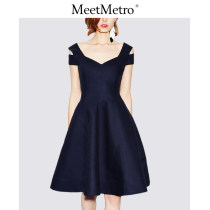 Dress Summer of 2018 Tibetan blue S M L Middle-skirt singleton  Sleeveless street V-neck High waist Solid color zipper Big swing other Others 25-29 years old Type X MeetMetro MC333623 other Europe and America